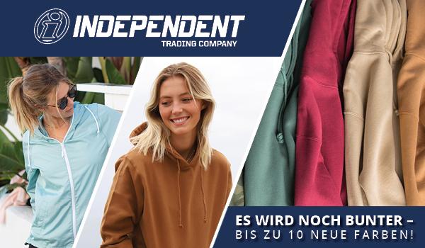 10 neue Farben bei Independent Sweatjacken und Windbreaker